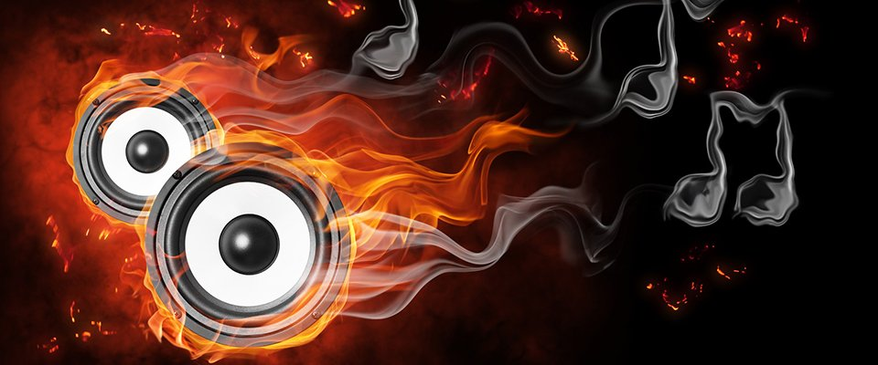 Understanding Speaker Power Rating Specifications - graphic of two speakers on fire