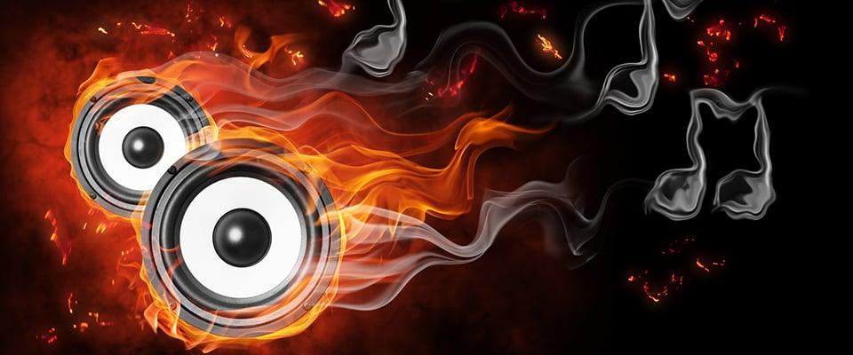 Speaker on fire