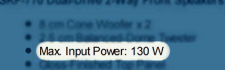Speaker power rating - Max Input Power