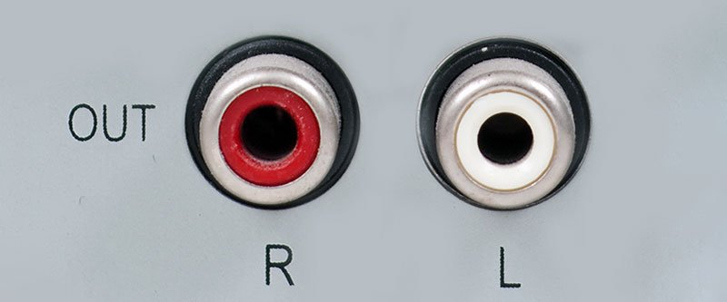 Close up of stereo analog rca connections