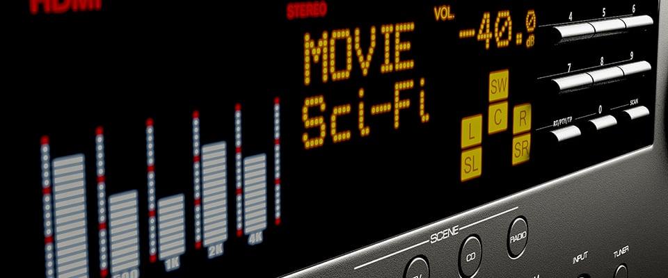 Surround Sound Formats: Dolby Digital vs DTS vs THX - front display of an AV receiver