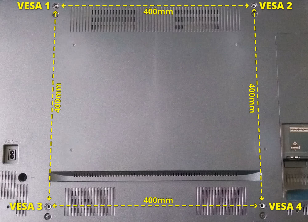 Vesa Mounting Holes On The Rear Of A Tv