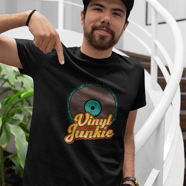 Vinyl Junkie T-Shirt For Vinyl Record Collectors