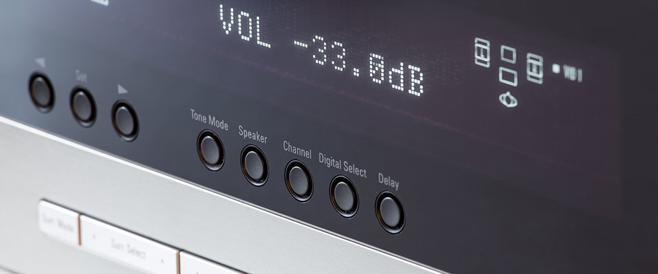 Yamaha AVENTAGE AV Receiver Models Compared - front panel display of an AV receiver