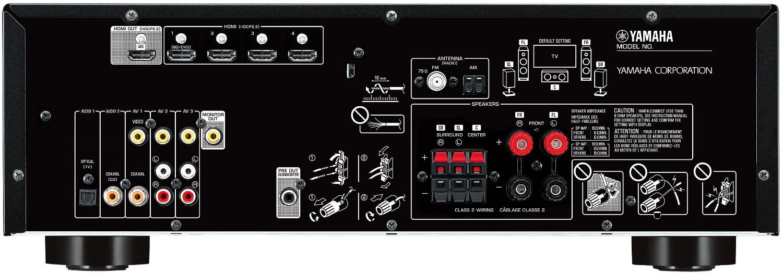 Yamaha Rx-V383 5.1-Ch Av Receiver - Rear View