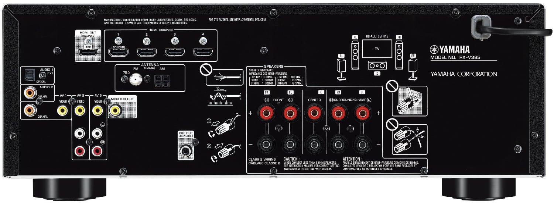Yamaha Rx-V385 5.1-Ch Av Receiver - Rear View