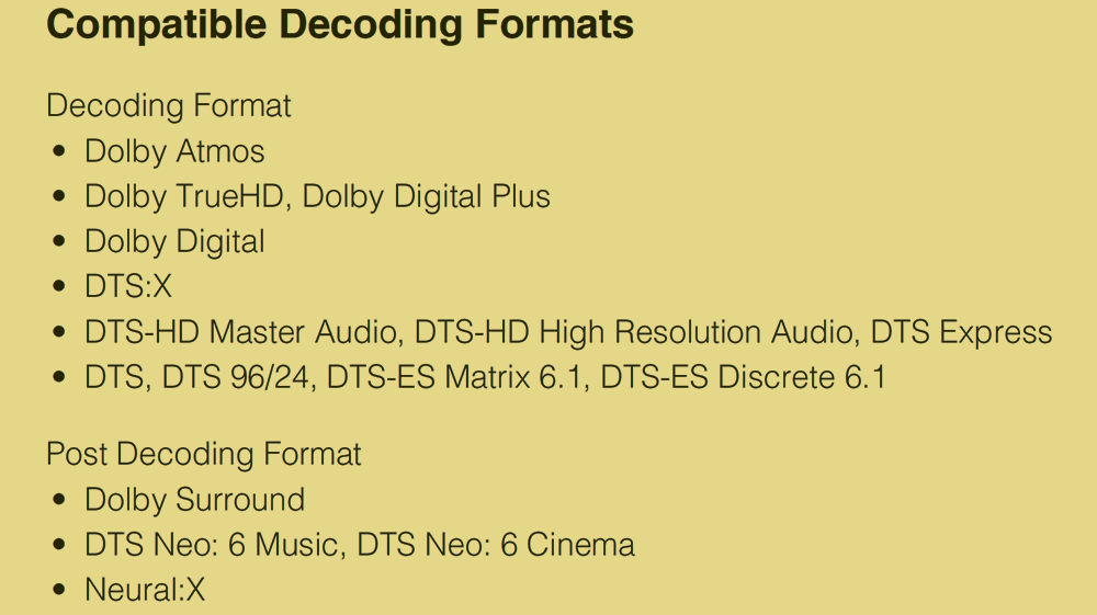 Decoders and Post Decoding Formats for The Yamaha RX-V685 AV Receiver
